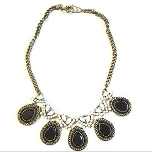 J Crew statement necklace black while like new